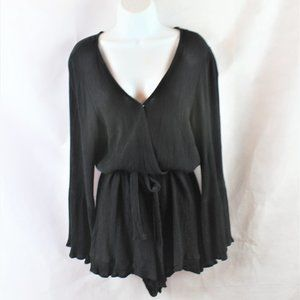 Cotton On Black V-Neck Bell Sleeve Shorts Romper